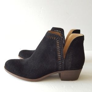 Lucky Brand Bustina Black Suede Cutout Booties
